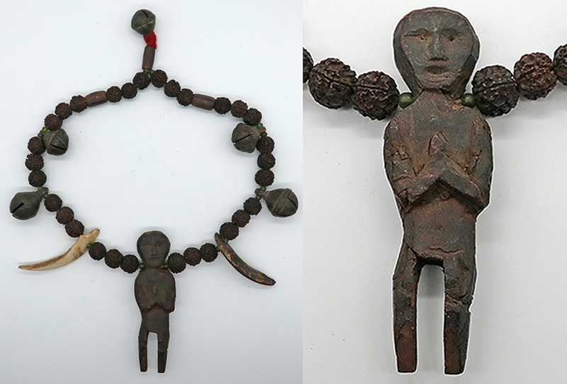 Rare Antique Shaman Guru Mala with Bells, Boar Tusks and Amulet