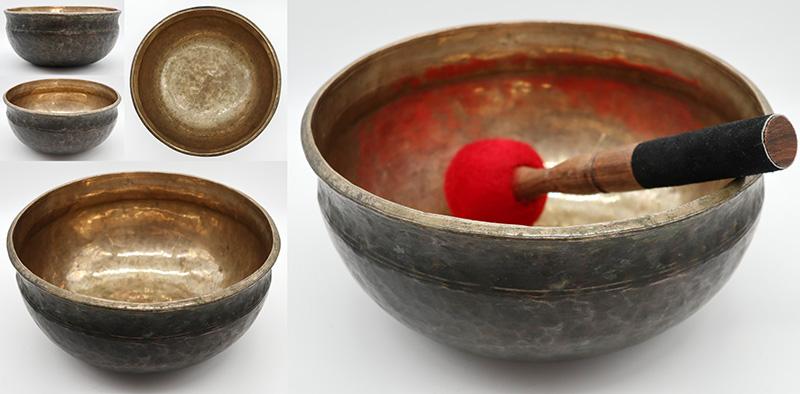 "Large 10"" Antique Ultabati Singing Bowl– Perfect Pitch Eb3"