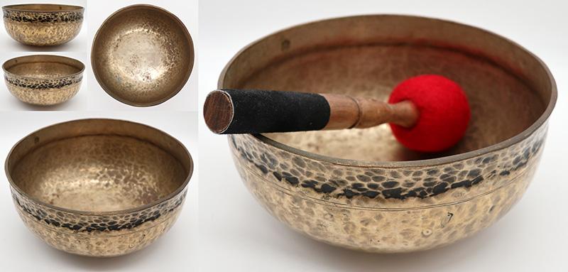 "Golden 9"" Antique Ultabati Singing Bowl– Perfect Pitch B2"