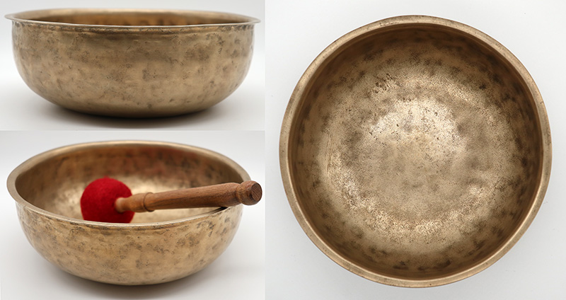 Unusual Large Flange-Lipped Antique Singing Bowl – Perfect Pitch Gong-Like Voice
