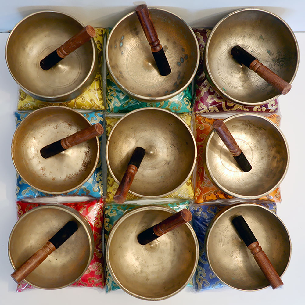 Extremely Rare Antique 4th Octave Set of 9 Lingam Singing Bowls