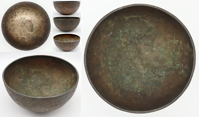 "Superb Medium Size 9"" Antique Jambati Singing Bowl 'As Found' – Perfect Pitch C3 (130Hz)"
