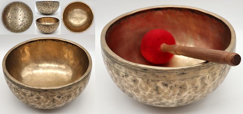 "Pretty Medium-Size 9 ¼ "" Antique Jambati Singing Bowl – G#3 & Eb5 Notes"