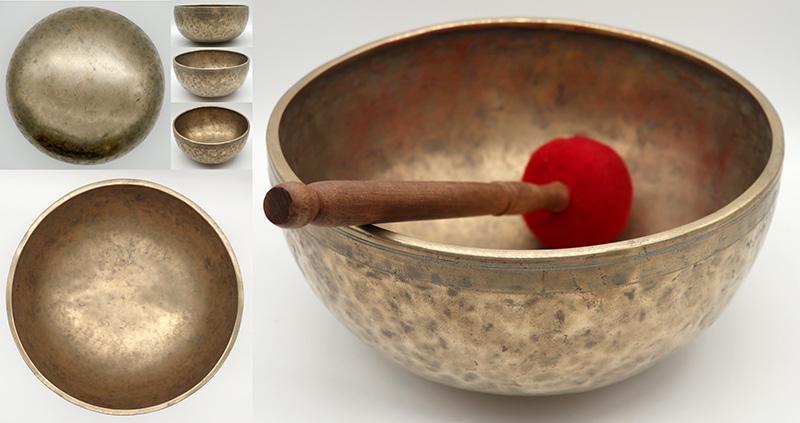 "Large 10 ½"" Antique Jambati Singing Bowl – Two Excellent Voices C3 & G#4"