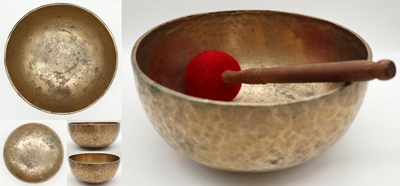"""Large 10"""" Antique Jambati Singing Bowl – Low A2/G#2 Cusp & Eb4"""