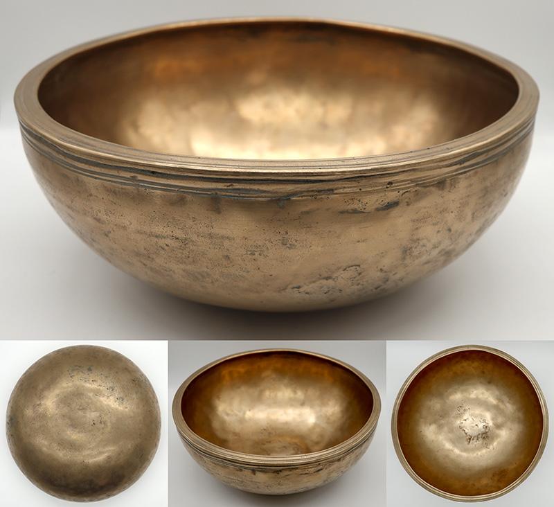 """Rare Large 11 ¾"""" Antique Jambati Singing Bowl – Exceptional G3 Voice!"""