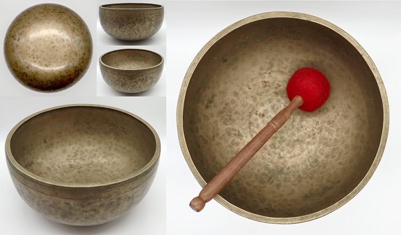 "Handsome Superior Quality 11 ¼"" Antique Jambati Singing Bowl – Perfect Pitch D3 Voice"