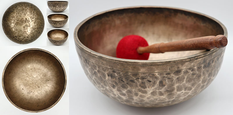 "Superior Quality 11"" Antique Jambati Singing Bowl - Perfect Pitch Bb2 (116Hz)"