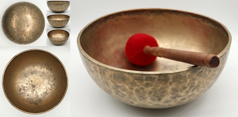 """Large 10 ¾"""" Antique Jambati Singing Bowl – 2 Perfect Pitch Notes - Huge Sustain"""