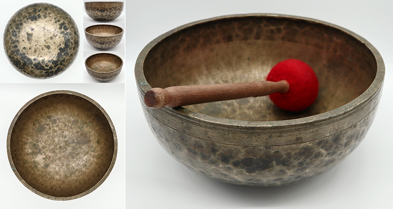 """A Heavy Large 11"""" Antique Jambati Singing Bowl – Perfect Pitch Eb3 & Long Sustain"""