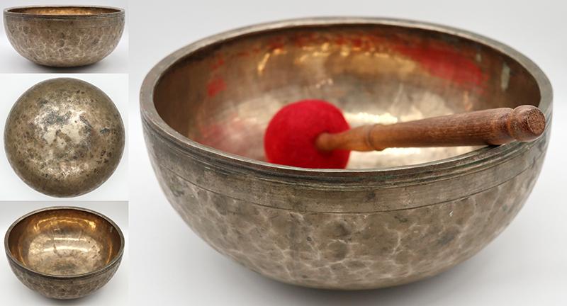 """Large 11 ¼"""" Antique Jambati Singing Bowl - Eb3 (157Hz)"""