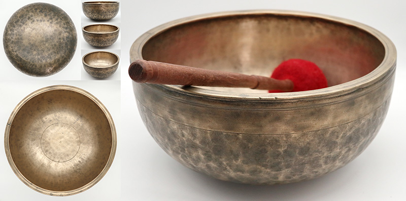 """Magnificent Rare Antique 11 ½"""" Ceremonial Jambati Singing Bowl – Fabulous G#3 – Ritual Cuts"""