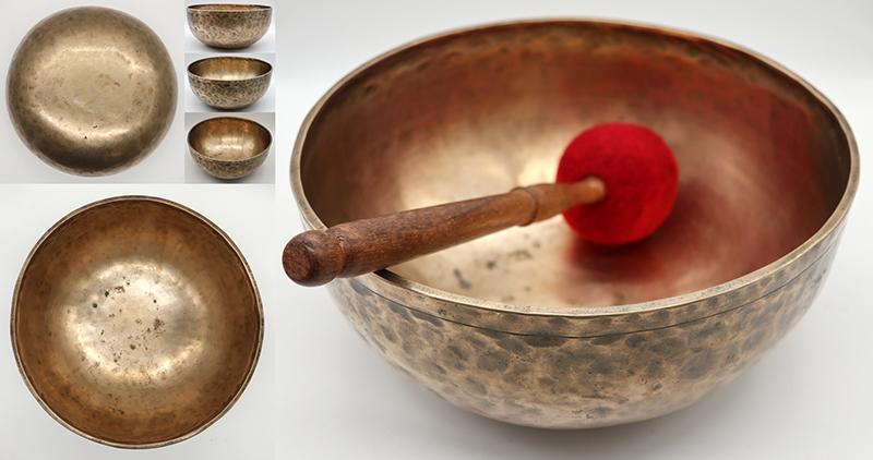 Large Extra-Thick 10 ¾ Antique Jambati Singing Bowl - Lovely G#2 (101Hz)