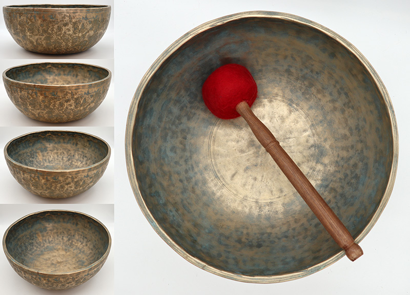"""Magnificent Rare Large 12"""" Antique Jambati Singing Bowl – Perfect Pitch C3 (131Hz)"""