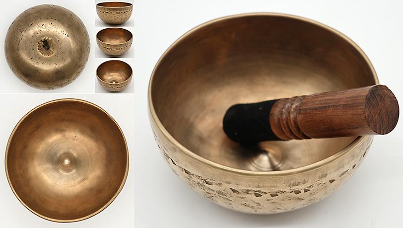 Exquisite Rare Small Antique Lingam Singing Bowl – F4 & B5 – Ritual Gashes