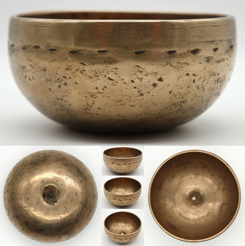 Exquisite Rare Small Antique Lingam Singing Bowl – G#4 & D6 – Ritual Gashes