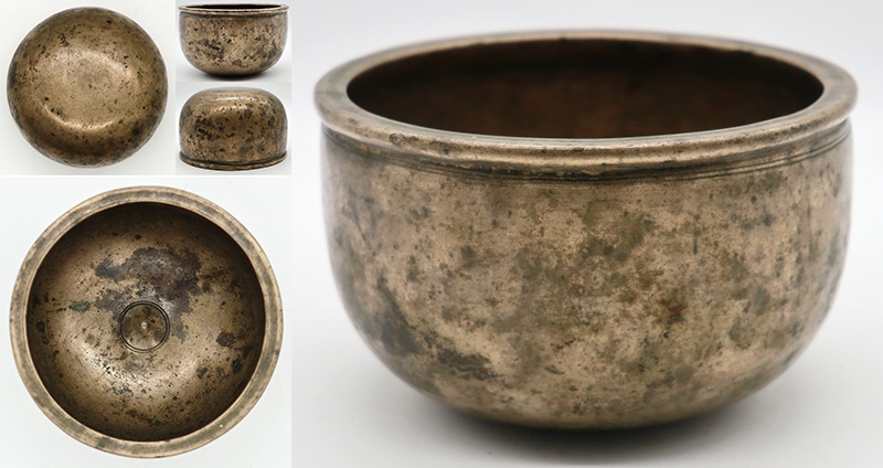 Charming Small 18th Century Pot-Shaped Lingam Singing Bowl – F5 (691Hz)