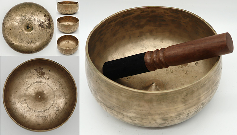 Rare Large Antique Remuna-Lingam Singing Bowl – F#3 (182Hz)