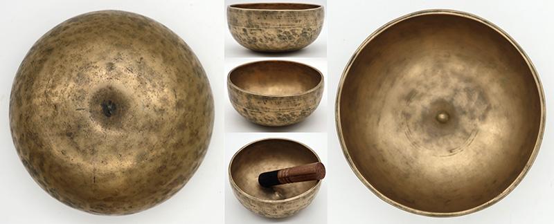 Rare Medium Antique Lingam Singing Bowl – D4/Eb4 - Inscription