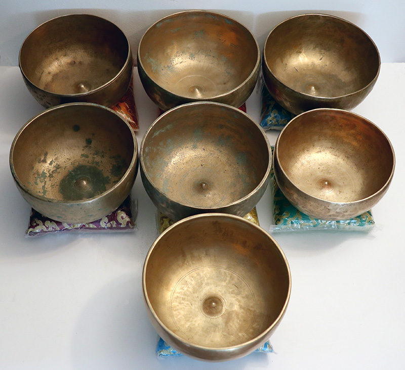 Sequential Set of 7 Large Antique 3rd Octave Lingam Singing Bowls – Unique Opportunity