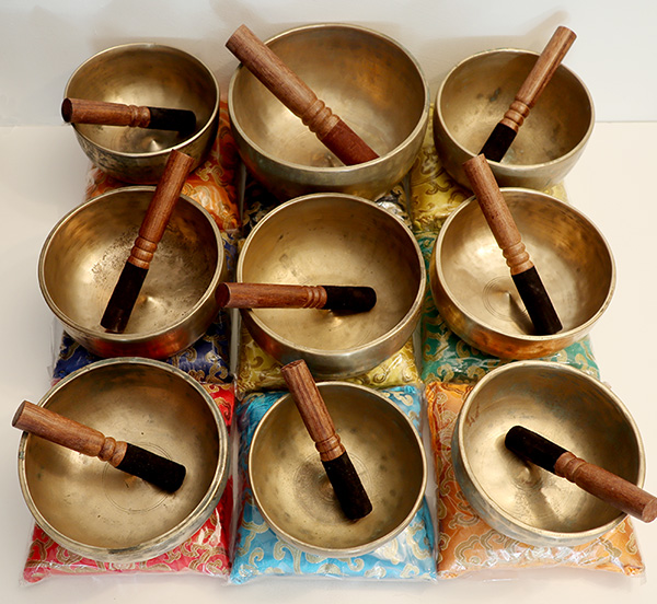 Rare 9-Piece Set of 4th Octave Antique Lingam Singing Bowls