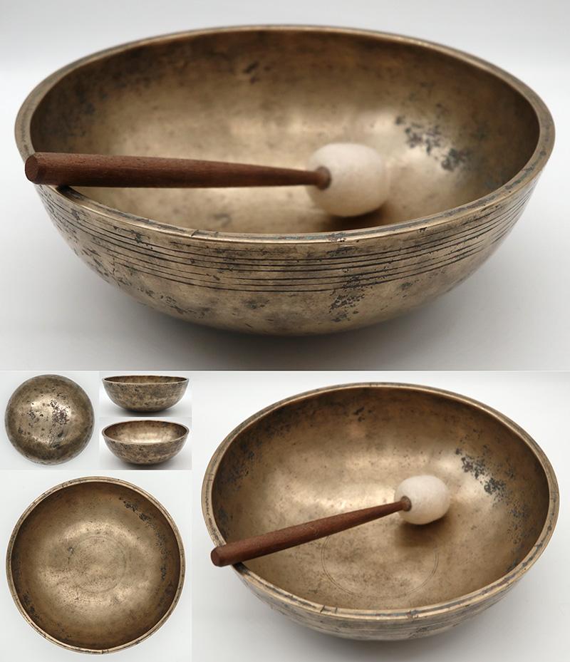 "Rare Large 9 ½ "" Antique Manipuri Singing Bowl – E3 & B4 – Ritual Cuts"