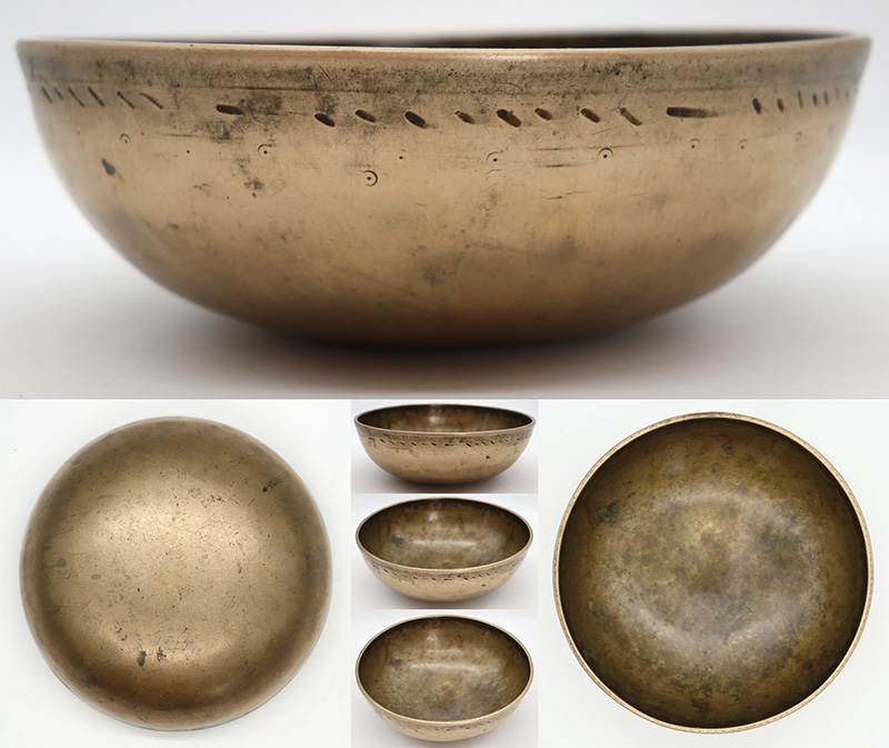 Fabulous Antique Manipuri Singing Bowl (Circa 1800) - Perfect Pitch E3  - Suns Motifs
