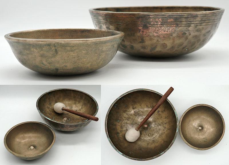 Set of 2 Extremely Rare 19th Century Manipuri-Lingam Singing Bowls, CP & Inscription
