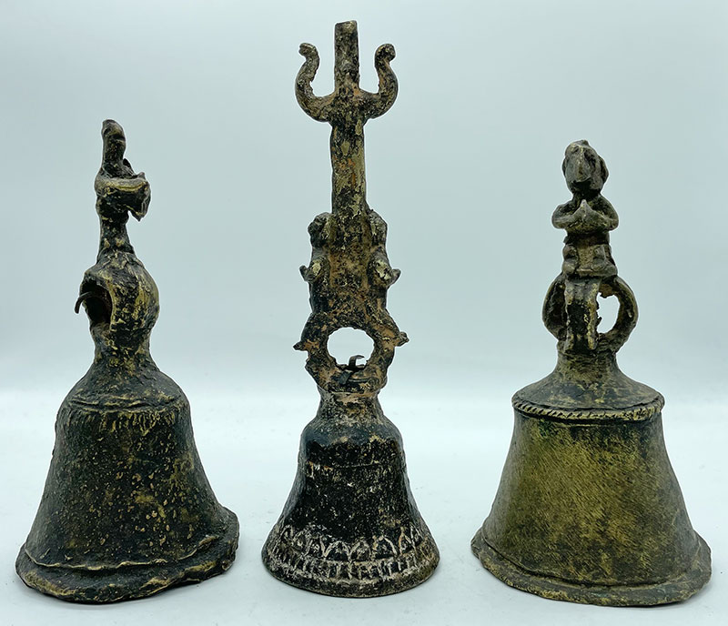 Collection of 3 Rare Antique Bronze Ritual Hand-Bells Made by Shaman for Own Use