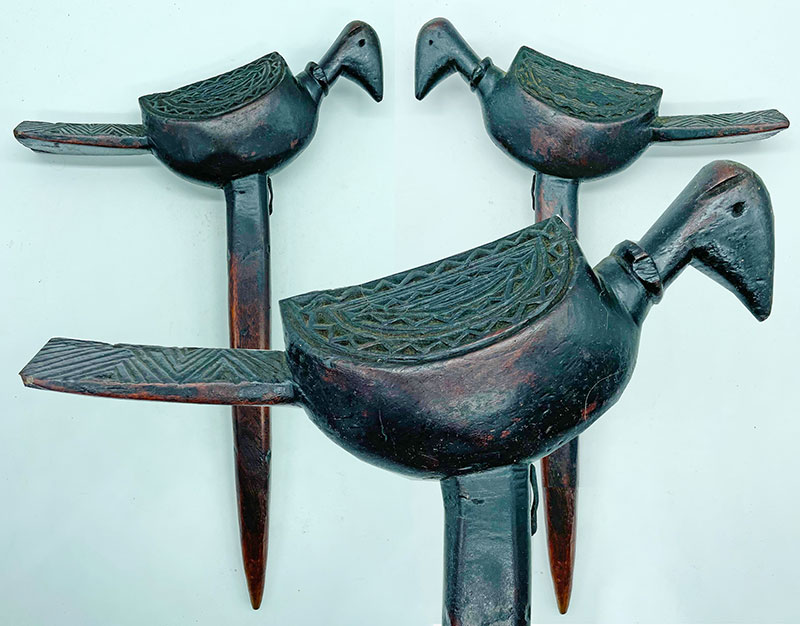 Unique Large Carved Shaman Bird Totem Phurba