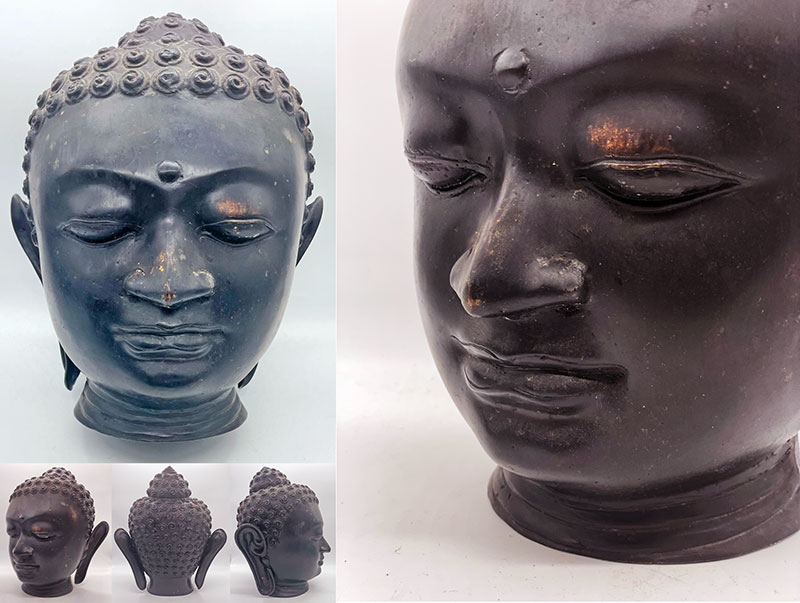 Large Cast Bronze Buddha Head from Indonesia