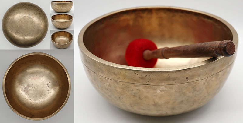 "Lightweight Golden 9 ¼"" Antique Jambati Singing Bowl – Nice G#3 (202Hz)"