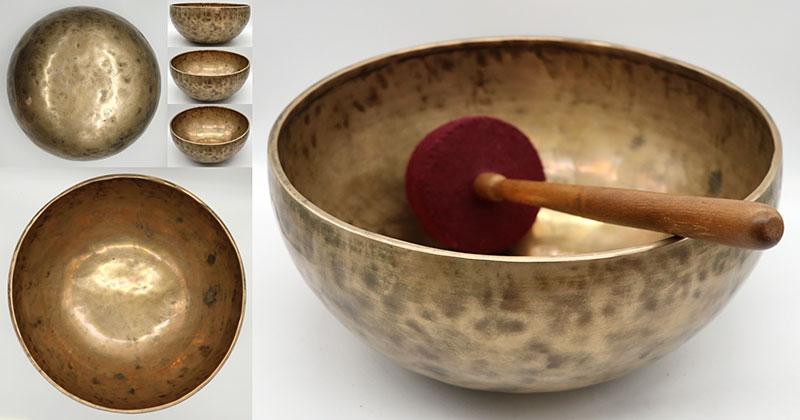 Large 12-Inch 20th Century Golden Jambati Singing Bowl - G/G#2 & D4