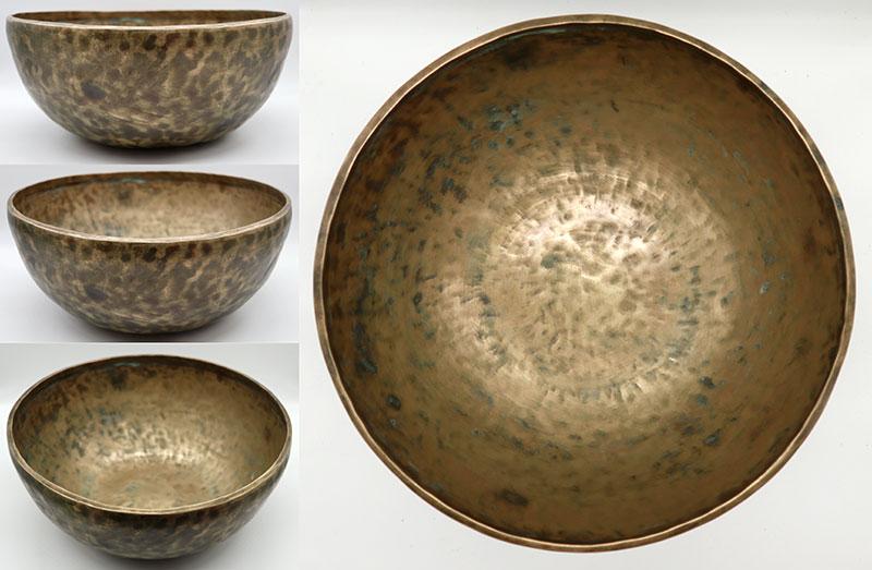 Large 12 ¼ -Inch 20th Century Golden Jambati Singing Bowl – Low G#2 & E4