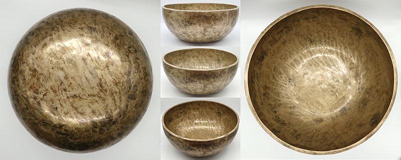 "Massive 14 ¼"" Antique Jambati Singing Bowl – Perfect Pitch G2 & Om"