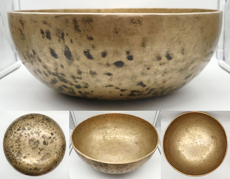 "Massive & Majestic 15 ½"" Antique Jambati Singing Bowl – Perfect Pitch C#2 & Om"