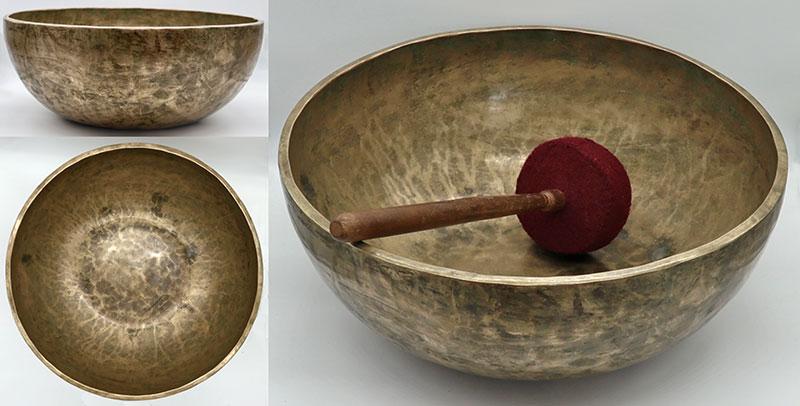 "Massive and Majestic 15"" Antique Jambati Singing Bowl – Wonderful Low F2 & Sustain"