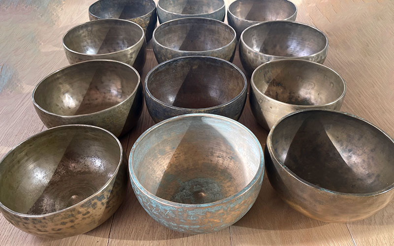 Magnificent 12-Piece Chromatic/Chakra Set of Rare Extra-Large Antique Lingam Bowls