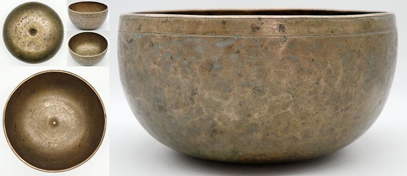 "Exceptional & Rare Large 9 ½"" Antique Remuna-Lingam Singing Bowl – Low A2 & E4"