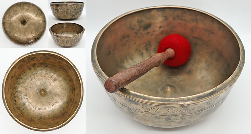 Rare Conical 18th Century Lingam Singing Bowl – Perfect Pitch F#3 - Inscription