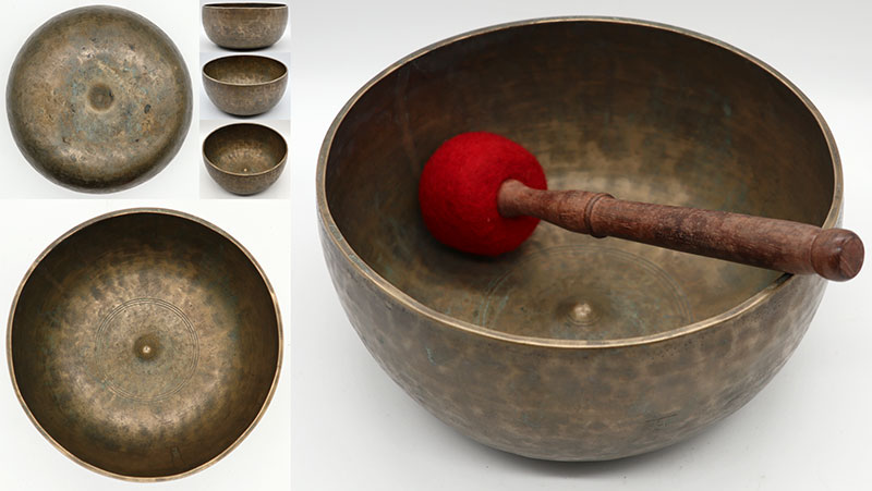 Fabulous Rare Large High-Wall 19th Century Lingam Singing Bowl – D3 - Inscribed