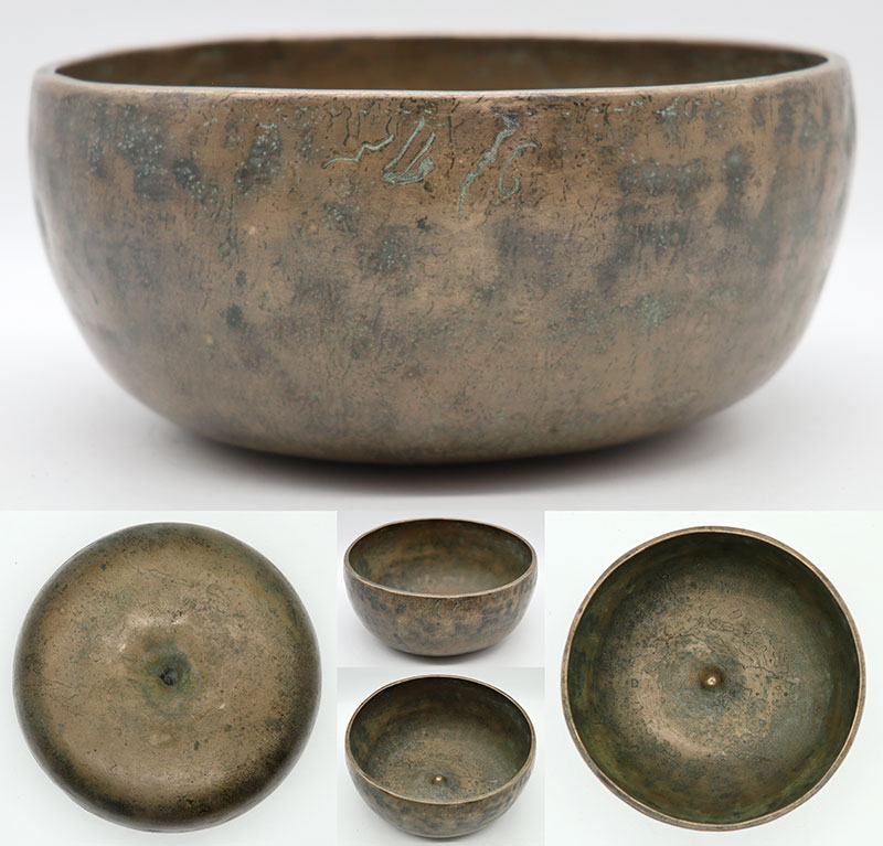 Rare Heavy 19th Century G#3 Lingam Singing Bowl with Inscription
