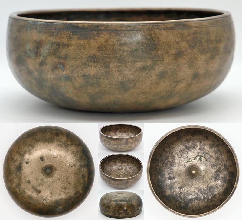 "Fabulous Rare 18th Century 8 ½ ""Antique Lingam Singing Bowl – C4 & Perfect Pitch F#5"