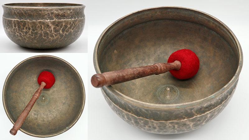 Rare, Beautiful & Inscribed Antique Ultabati-Lingam Singing Bowl – Perfect Pitch Eb3
