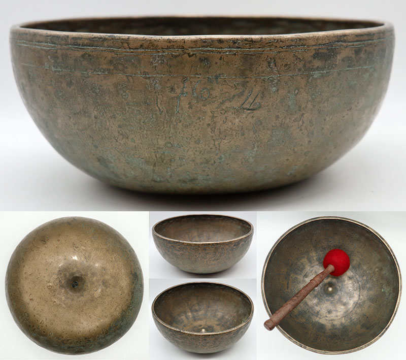 Fabulous Rare Large 18th Century Lingam Bowl – 2 Perfect Pitch Voices & Inscription