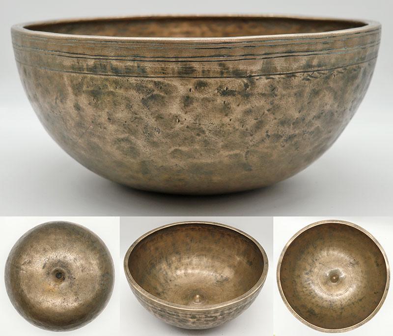"Spectacular 11 ¼ "" Antique Jambati-Lingam Singing Bowl – Perfect Pitch Eb3"