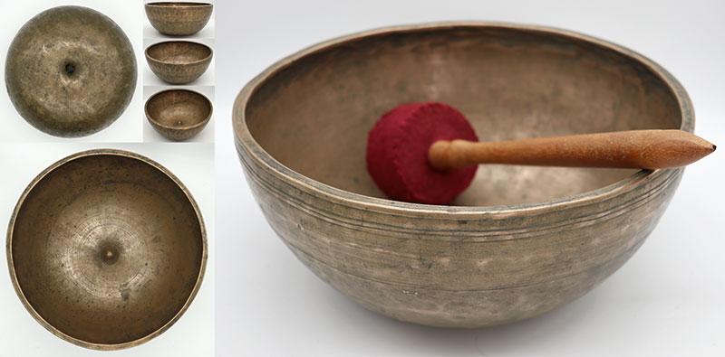 """Spectacular Heavy Large 10 ½ """" Antique Jambati-Lingam Singing Bowl – E3 & B4"""