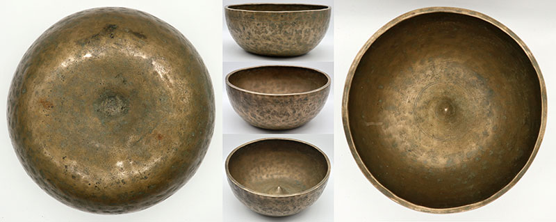 "Spectacular Unique 11 ¼"" Inscribed Antique Jambati-Lingam Singing Bowl"