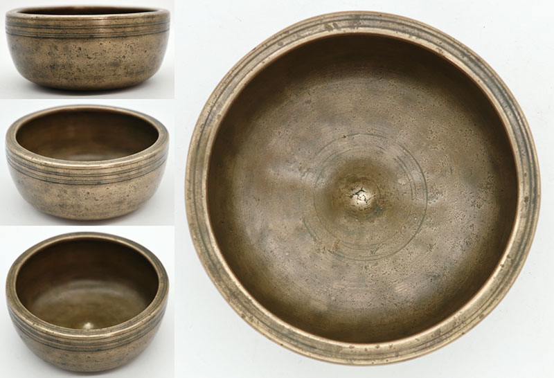Small Superior Quality Extra-Thick 19th Century Lingam Singing Bowl – Powerful Bb5