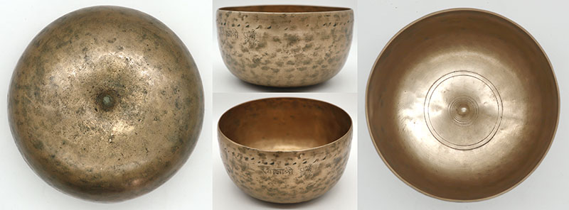 Rare Ultra-Fine 18th Century Lingam Singing Bowl with Ritual Cuts & Inscription